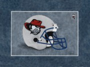 High School Sports Prints - Haralson County Rebels Football Helmet Print by Herb Strobino