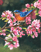 Bird Pastels Prints - Harbingers of Spring Print by Deb LaFogg-Docherty