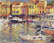 Fishing Boats Posters - Harbor at Cassis Poster by Peter Graham