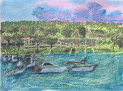 Harbor Drawings Originals - Harbor at Halesite by Don Schaeffer
