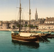 Docked Sailboats Posters - Harbor at St. Malo Poster by Padre Art