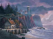 Lighthouse Paintings - Harbor Light Hideaway by Michael Humphries