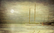 Sailing Ship Mixed Media Prints - Harbor Moonlight Print by Michael Petrizzo