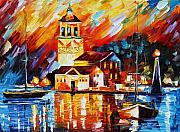 Greece Painting Originals - Harbor Of Excitement by Leonid Afremov