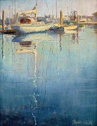 Boats In Water Paintings - Harbor Reflection by Sharon Weaver