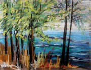 Unique View Pastels Posters - Harbor Trees Poster by John  Williams