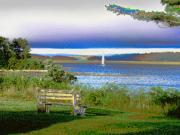 Seacoast Digital Art Prints - Harbor View Bench Print by Perry Conley