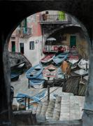 Boats In Harbor Originals - Harbors Edge In Riomaggiore by Charlotte Blanchard