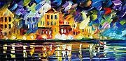 Greece Painting Originals - Harbors Flames by Leonid Afremov