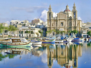 Italian Landscapes Paintings - Harborside Msida Malta by Dean Wittle