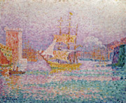Pointillist Framed Prints - Harbour at Marseilles Framed Print by Paul Signac