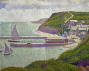 Port En Bessin Framed Prints - Harbour at Port en Bessin at High Tide Framed Print by Georges Pierre Seurat