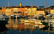 St.tropez Photo Framed Prints - Harbour Boats And Waterfront Houses, St Tropez, Provence-alpes-cote Dazur, France, Europe Framed Print by David Tomlinson