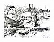 Water Vessels Drawings Posters - Harbour Boats Poster by Sarah Madsen