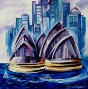 Sydney Skyline Art - Harbour Bridge II by Yelena Dyumin