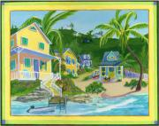 Bahamas Landscape Paintings - Harbour Houses by Florence Bramley Hill