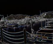 Harbour Mixed Media Prints - Harbour Nights Print by Jacqueline Barth
