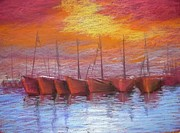 Line Pastels Originals - Harbour by Regina Levai