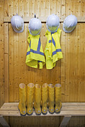 Hard Hat Prints - Hard Hats Safety Vests With Reflective Print by Corepics