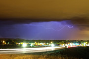 Lightning Bolt Pictures Prints - Hard Rain  Lightning Thunderstorm over Loveland Colorado Print by James Bo Insogna