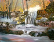 Waterfalls Paintings - Hard Rock Falls by Larry Hamilton