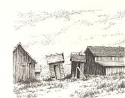 Towns Drawings - Hardman Ghost Town Oregon by Kevin Heaney