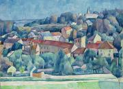 Village Paintings - Hardricourt Village and Castle by Walter Rosam