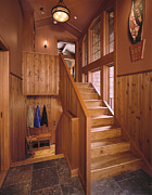 Wooden Stairs Posters - Hardwood Staircase Poster by Robert Pisano