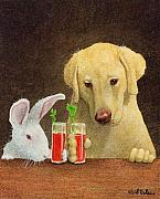 Labs Paintings - Hare of the dog...the yellow lab... by Will Bullas