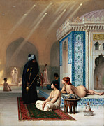 Gerome Painting Framed Prints - Harem Pool Framed Print by Pg Reproductions