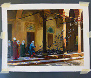 Harem Originals - Harem Women Feeding Pigeons in a Courtyard by Jean Leon Gerome