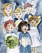 Angels Drawings Prints - Hark The Angels Sing Print by Mindy Newman