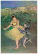 Ballet Dancers Painting Framed Prints - Harlequin and Colombine Framed Print by Edgar Degas