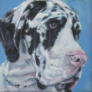 Great Dane Portrait Posters - harlequin Great Dane Poster by Lee Ann Shepard