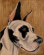 Great Pastels - Harlequin Great Dane by Linda Henthorn