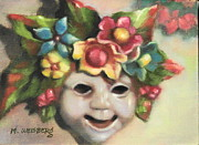 Flowers On Head Posters - Harlequin Mask Poster by Marilyn Weisberg
