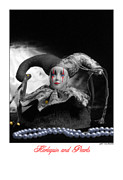 Stylized Photography Framed Prints - Harlequinn and Pearls Black and White Framed Print by Jerry Taliaferro