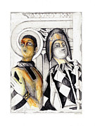 People Mixed Media Prints - Harlequins Print by Bob Salo