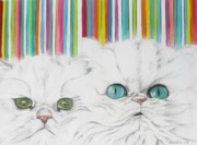 Cute Cat Pastels Prints - Harley and Chloe Print by Michelle Hayden-Marsan