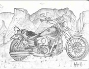 Grand Canyon Drawings - Harley Davidson bike by Anitha SivaSubramanian
