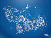 Reverse Framed Prints - Harley-Davidson Leaning Trike Patent Artwork Figure 1 Framed Print by Nikki Marie Smith