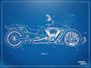 Reverse Framed Prints - Harley-Davidson Leaning Trike Patent Artwork Figure 2 Framed Print by Nikki Marie Smith