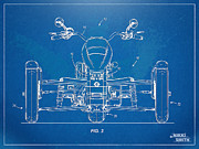 Reverse Prints - Harley-Davidson Leaning Trike Patent Artwork Figure 3 Print by Nikki Marie Smith