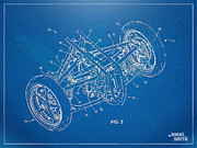 Reverse Framed Prints - Harley-Davidson Leaning Trike Patent Artwork Figure 5 Framed Print by Nikki Marie Smith