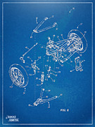 Reverse Prints - Harley-Davidson Leaning Trike Patent Artwork Figure 6 Print by Nikki Marie Smith
