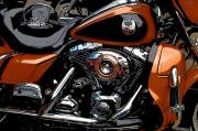Engine. Bike Prints - Harley Davidson Leather and Chrome Print by Diane E Berry