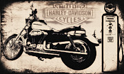 Gas Pump Posters - Harley Davidson Motor Cycles Poster by Bill Cannon