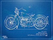Blue Print Posters - Harley-Davidson Motorcycle 1928 Patent Artwork Poster by Nikki Marie Smith