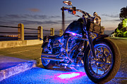 Night Photo Framed Prints - Harley Davidson Motorcycle Framed Print by Dustin K Ryan