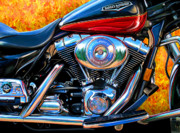 Biker Framed Prints - Harley Davidson Road King Framed Print by David Kyte